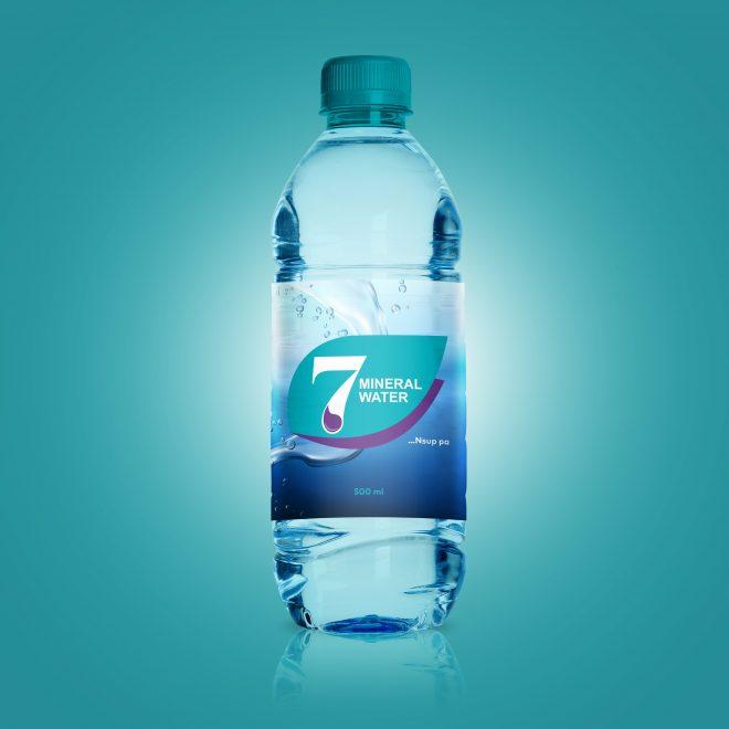 7 mineral Water Bottle Mockup PSD
